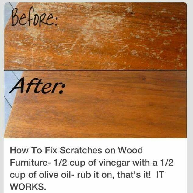 Attractive Fix Wood: 1/2c Vinegar And 1/2c Olive Oil Mixed. Rub