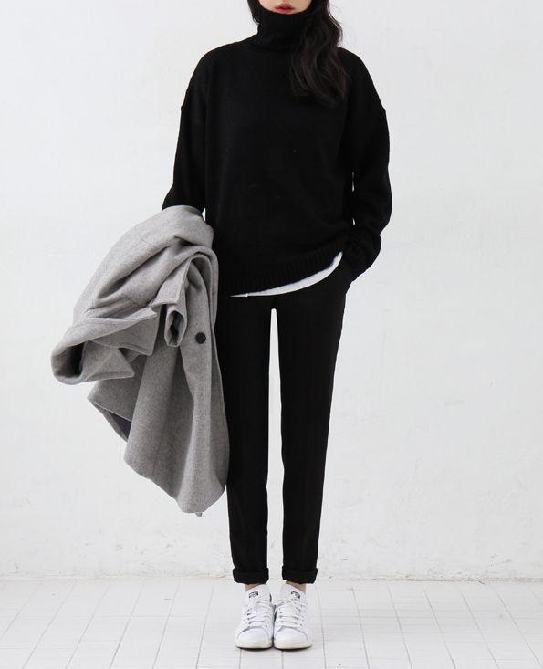 Oversize black polo neck jumper, white t-shirt, black skinny jeans, Stan Smith's & grey coat | @styleminimalism