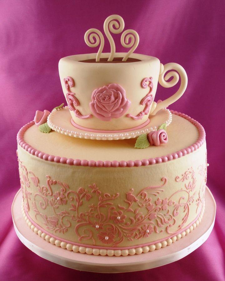 Tea Party Cake Images : bridal shower tea party cake Decorating cakes Pinterest