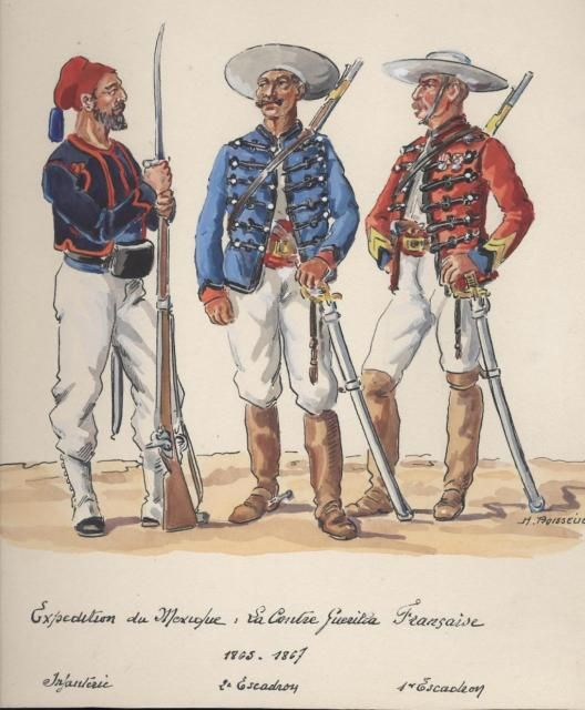 French Counter Guerilla Force  in Mexico 1863-1867- byHenri Boisselier. L to R Infantry, 2nd Squadron and 4th Squadron.