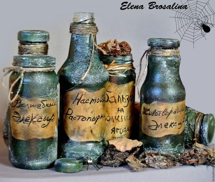 """Купить """"Ведьмины зелья"""" оформление бутылок - тёмно-зелёный, зелья, зелье, зелье ведьмы"""