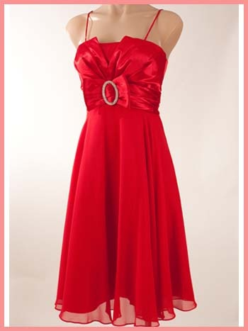 Retro Red Chiffon Satin Bow Cocktail Dress-60s Style Dresses