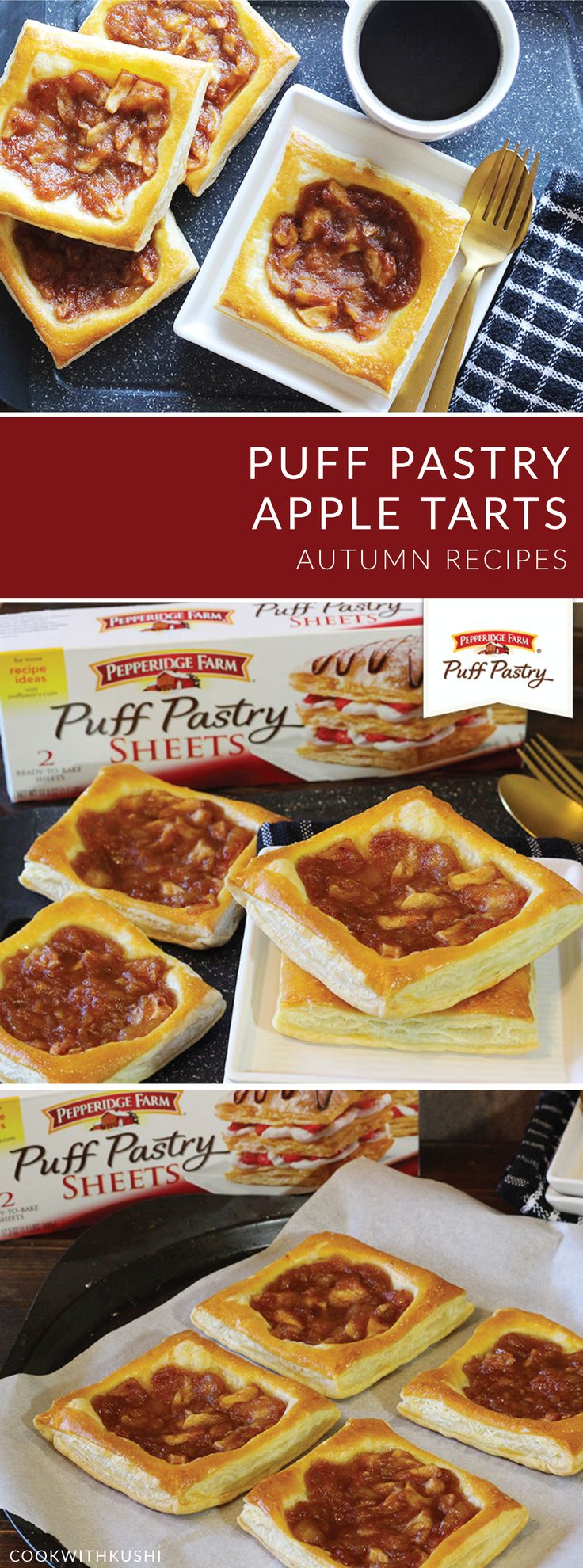 These Puff Pastry Apple Tarts from Kushi, of Cook with Kushi, have us dreaming of crisp fall days. This easy dessert recipe allows you to enjoy your favorite autumn flavors thanks to the combination of Pepperidge Farm® Puff Pastry Sheets, brown sugar, cinnamon, roasted nuts, and apples. Serve this sweet treat at your next Thanksgiving celebration for a delicious dish that your family is sure to love.