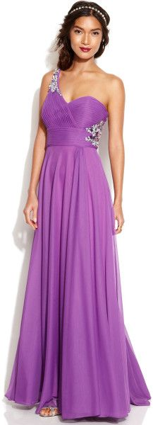 Xscape Oneshoulder Embellished Cutout Gown in Purple (Grape)