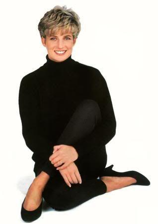 1992: Princess Diana Portrait. Princess Diana in all black: polo neck sweater, leggings, high heels.