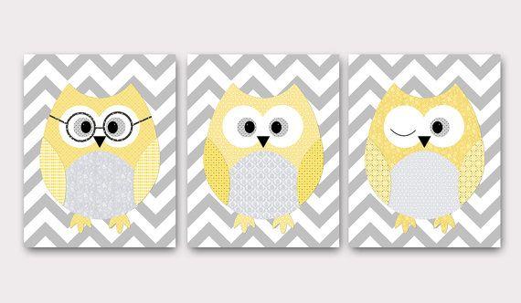 Owl Decor Owls Nursery Baby Nursery Art Decor Kids by artbynataera, $60.00