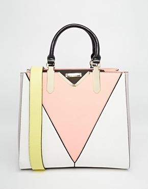 V Front Tote Bag Really beautiful colour combination with the pastel colours!