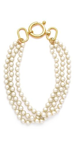 Fallon Jewelry Classique Triple Gold Pearl Necklace, but for glass pearls and gold plating, $200 seems a bit ridiculous #fashion