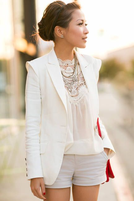 Victorian Weekend :: Lace Blouse & Linen Blazer  #
