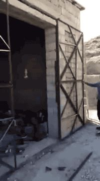 "gifsboom: "" Steel gate. [video] """