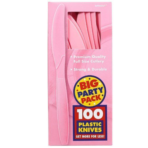 Amscan New Pink Big Party Pack Knives (100) by Amscan. $12.91. Look for matching cutlery (sold separately).. Each package includes (100) plastic knives in a vibrant color.. Convenient for all your party needs.. Oversized: No.. Material: Plastic.. Includes (100) plastic knives.
