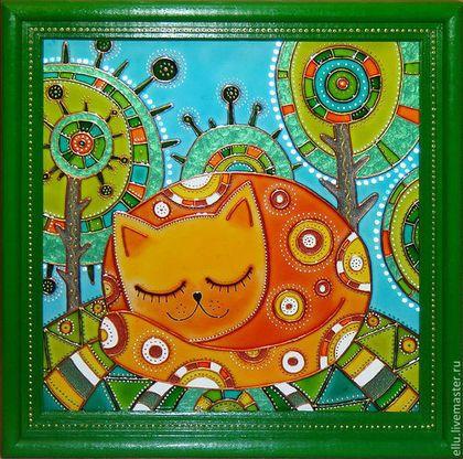 """Животные ручной работы. Ярмарка Мастеров - ручная работа Картина на стекле """"Рыжая Соня"""", витражная роспись. Handmade."""