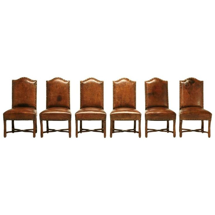 French Leather Dining Chairs, circa 1750   From a unique collection of antique and modern dining room chairs at https://www.1stdibs.com/furniture/seating/dining-room-chairs/