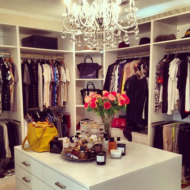 closets - walk in closet, closet island, closet chandelier, built in cabinets, closet cabinets, mirrored tray, mirrored fragrance tray, Fabulous