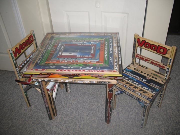 Table/Chairs Made Of Hockey Sticks.