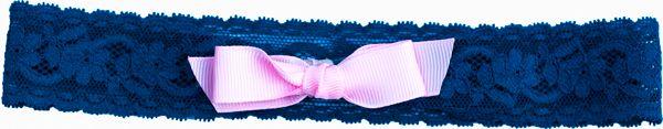 Navy blue kant elastiek baby haarbandje met een zacht rose strikje - Hip en Haar