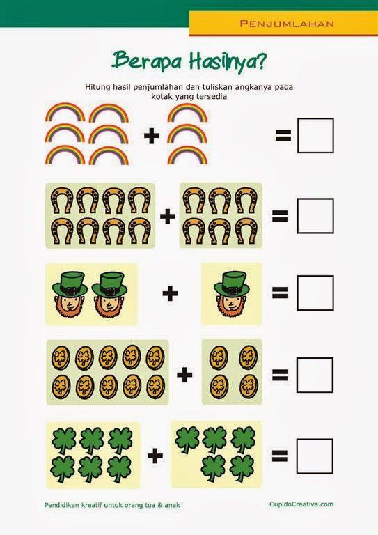 belajar anak paud kelas 1 SD, matematika penjumlahan, bilangan/angka 1-10