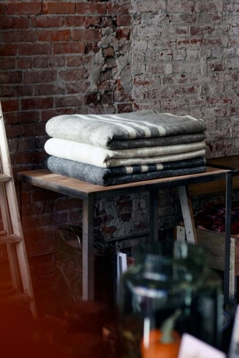 100% Virgin Wool blankets made in Atlantic Canada. Found at Old Faithful in Vancouver.
