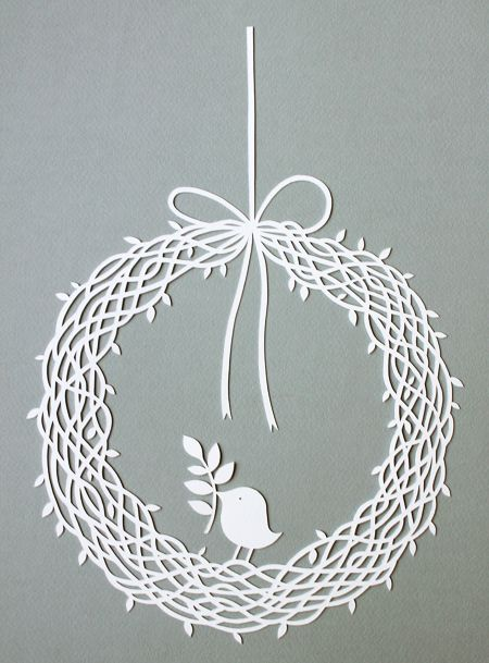 wreath papercut with bird