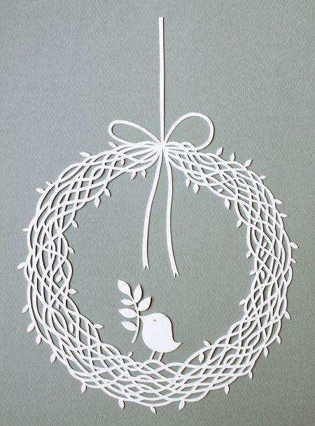 wreath papercut with bird