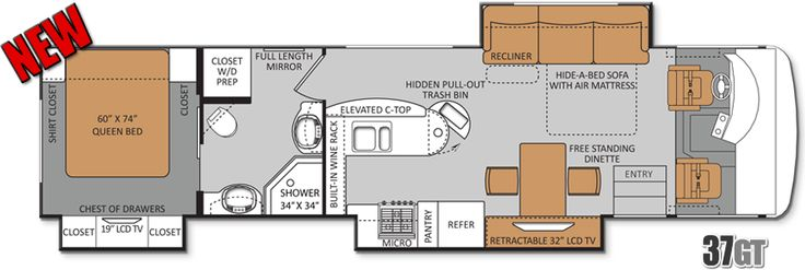 25u0027 Class A Rv Floor Plan   Google Search | RV / Wagon / Tiny Home Floor  Plans | Pinterest | Rv