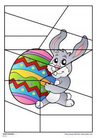 Puzzles sur le thème de Pâques 17 puzzles en couleur ou en noir et blanc sur le thème de Pâques et déclinés en 4, 6, 9 et 12 et 15 pièces avec des illustrations variées (lapin, poule, cloche, oeuf, paniers...) Ils pourront être plastifiés ou utilisés directement comme exercices.