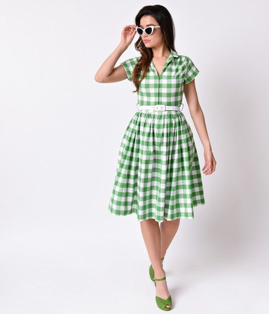 Dreaming of something domestic? A darling midcentury vintage frock from Bernie Dexter crafted from breezy lightweight cotton and featuring an exquisite white and green gingham print over the entirety. Pure retro dress perfection, Kelly boasts a classic co