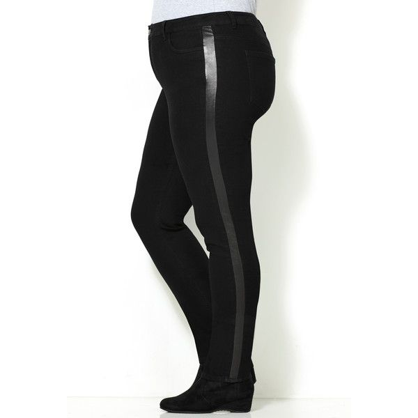 Avenue Plus Size Faux Leather Tuxedo Legging Jean ($20) ❤ liked on Polyvore featuring black, plus size, plus size womens tuxedo suit, plus size womens tuxedo, tuxedo suit, fitted tuxedo and dinner suit
