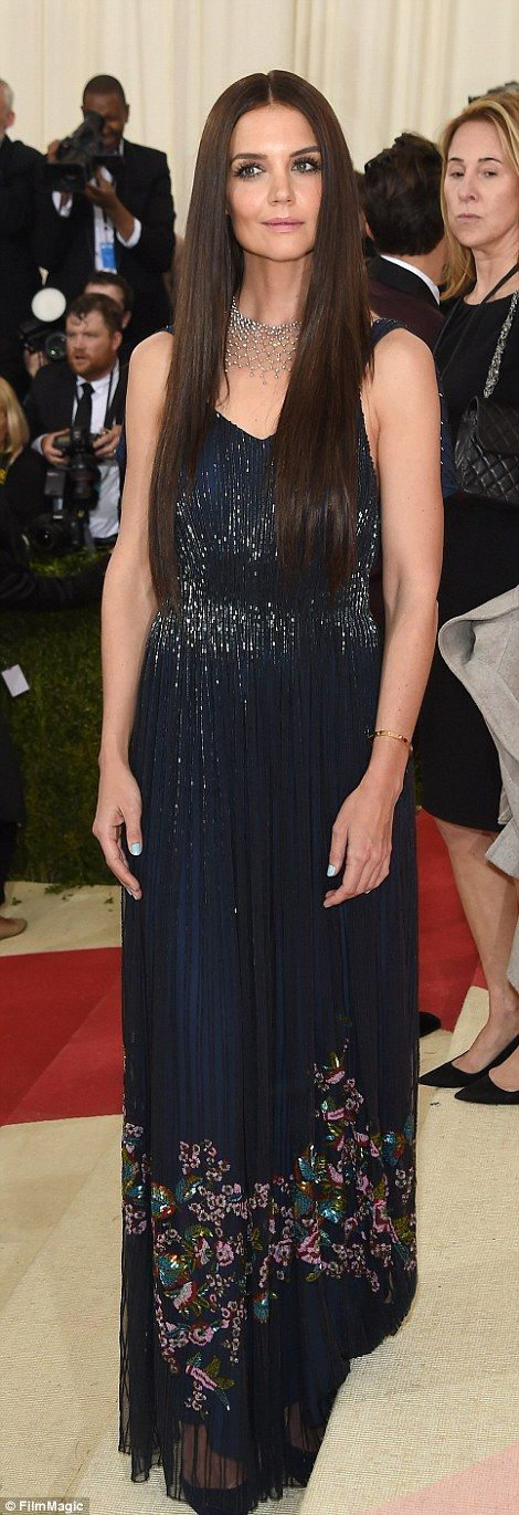 Poised: Katie Holmes sported extra long extensions in her hair as she wore a Zac Posen mid...