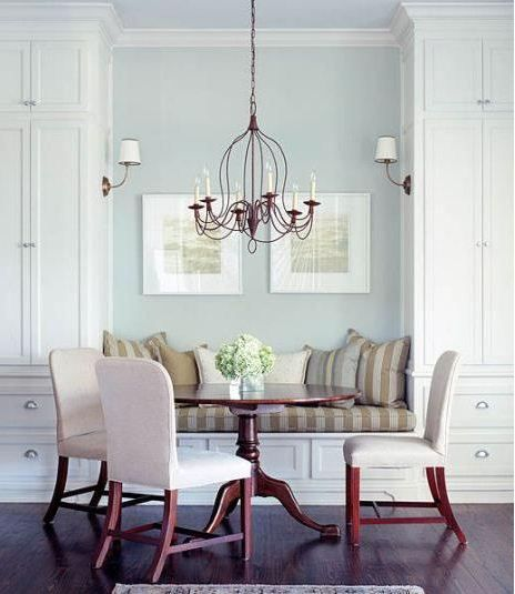 Painted Family Kitchen With Dining Nook: Soft Blue Walls In Breakfast Nook With White Painted