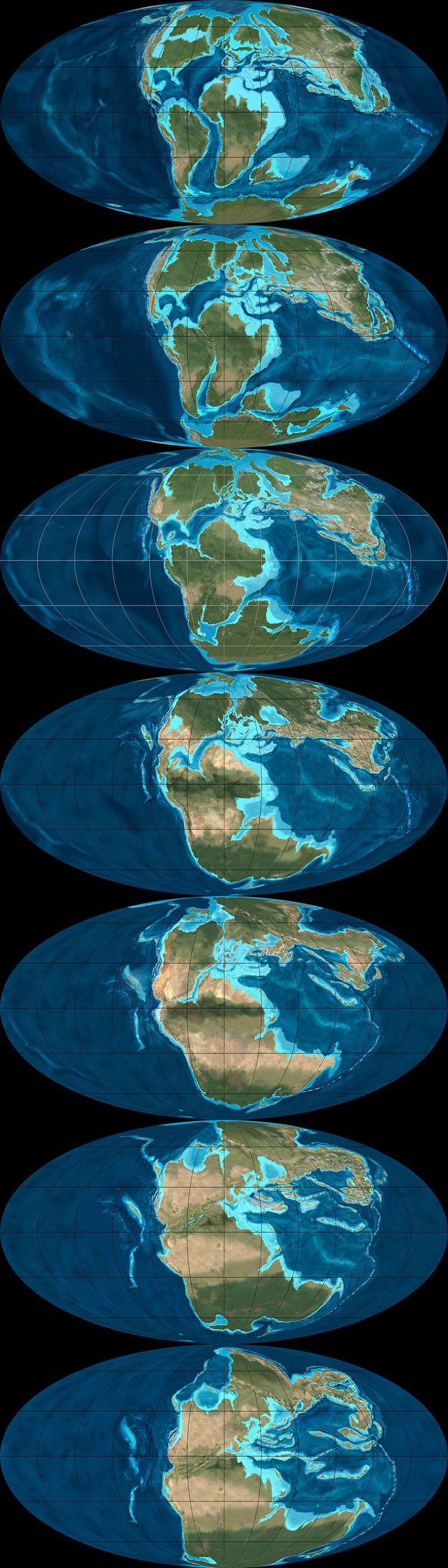 Paleo-tectonic maps by Ron Blakey: from top to bottom, 105 to 240 million years ago.