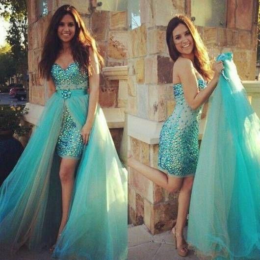 vestido 2 em 1 azul para debutante
