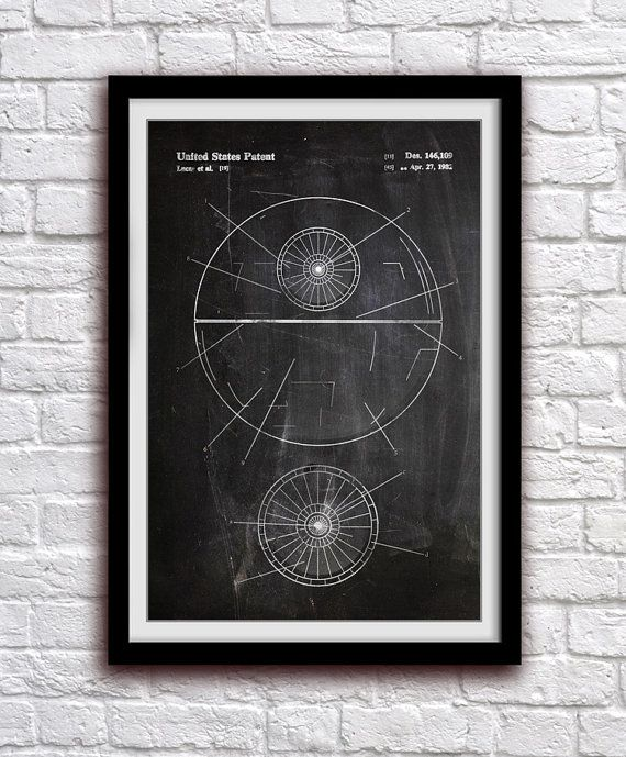 Star Wars Death Star - Action Figure Toy Decor - Patent Print Poster Wall Decor - 0999    Hang a piece of history in your Home, Office, Man Cave