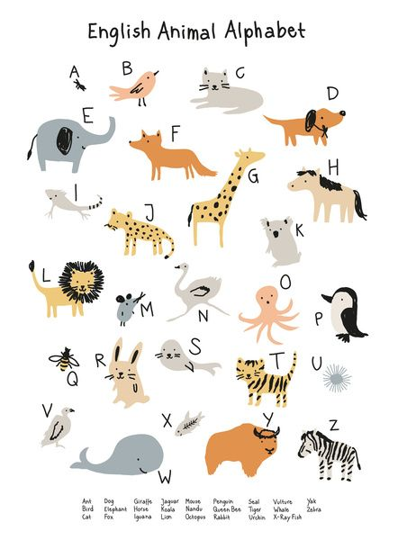 Animal Alphabet Art Print by little cube