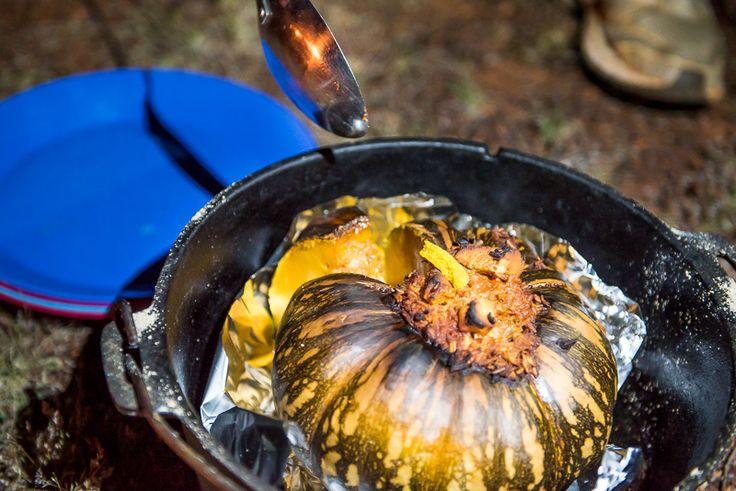 Recipes: Camp oven - stuffed curry pumpkin - camp food - camping