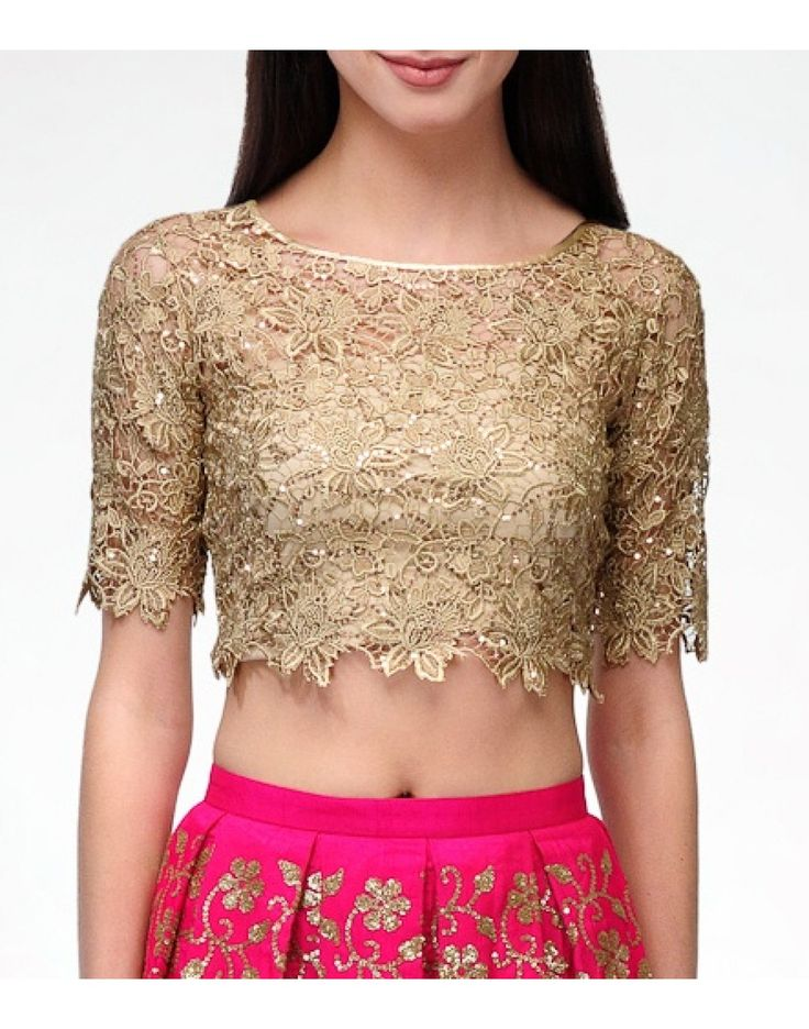 Lace Gold Crop Top - Blouses - Clothing