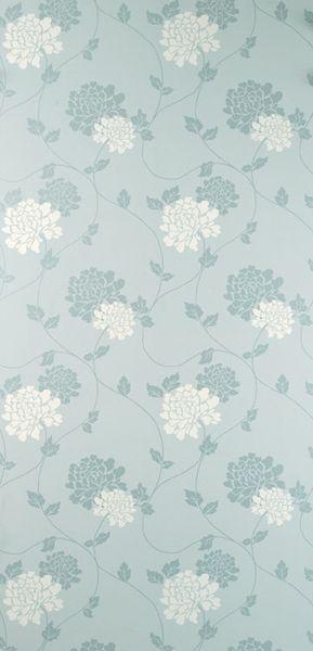 papel pintado isodore azul verdoso y blanco
