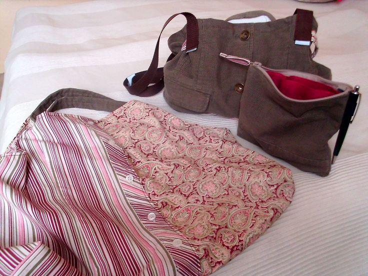Ruční práce, šití (recyklace nenošeného saka a košile = kabela, organizér a nákupní taška)