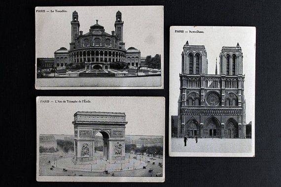 Vintage Paris France Antique Post Cards by Circa810 on Etsy