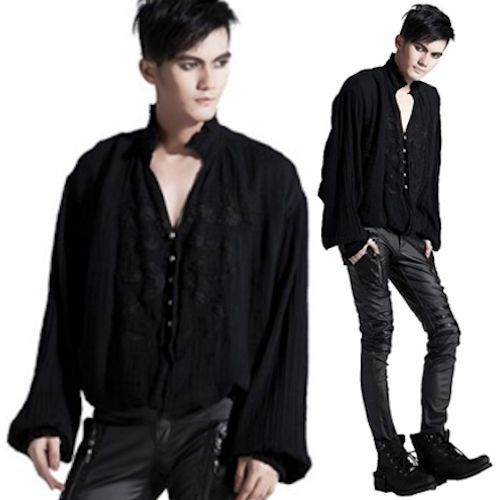 Mens Black Long Sleeve Button Down Victorian Gothic Dress Shirts Wedding SKU-11407193