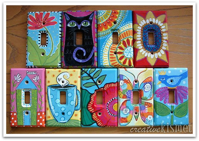 hand painted light switch plates