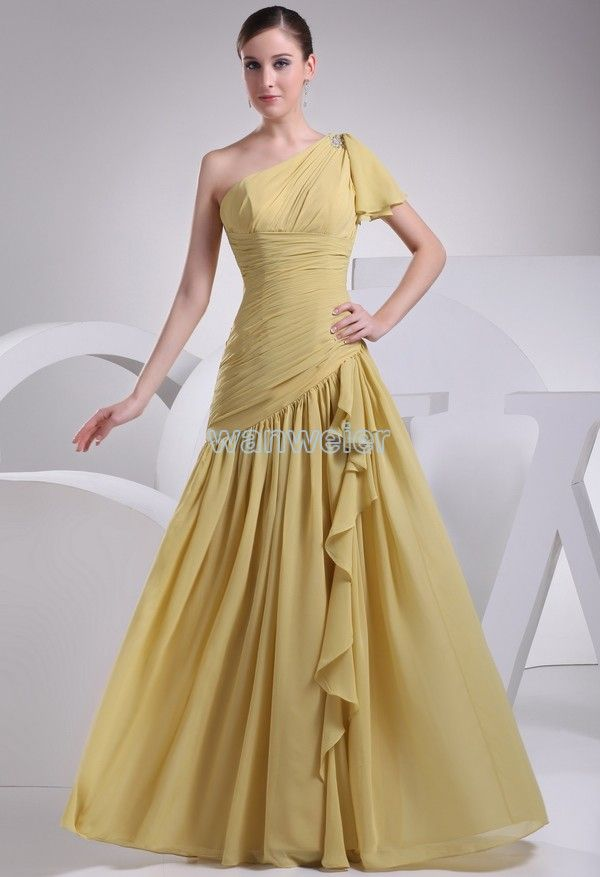 Concise Sheath Oblique Floor Length Chiffon camel Party Dress with Shirring(ZJ5685)