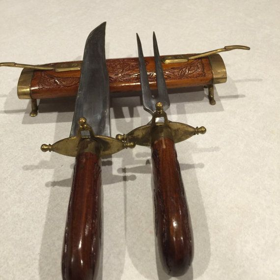 Vintage carved wood knife and fork set SCA feast by SweetThursday