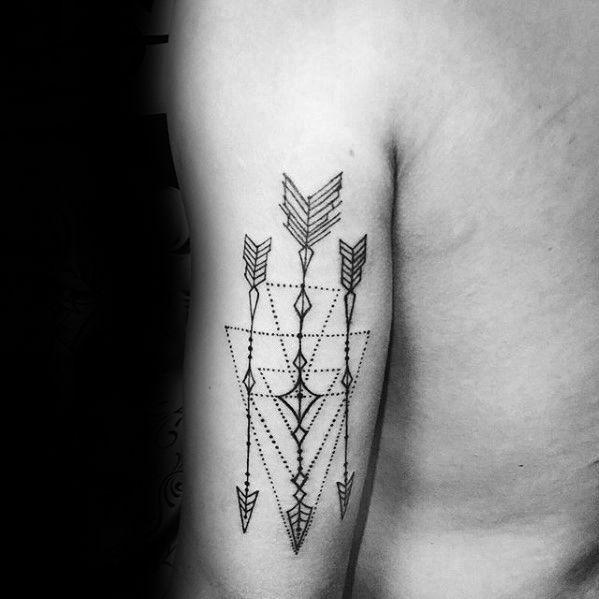 Three Arrows Back Of Arm Geometric Tattoos For Men Tattoosformen Back Of Arm Tattoo Tattoos For Guys Arm Tattoos For Guys