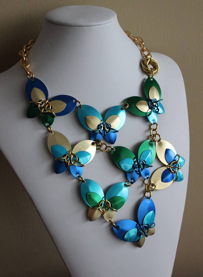 Butterfly chainmail necklace