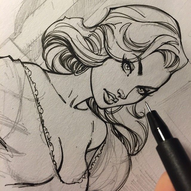 woman + comics + hair style + angular + eyes + ink ++ By J. Scott Campbell : https://www.facebook.com/jscottcampbellfanpage?fref=ts