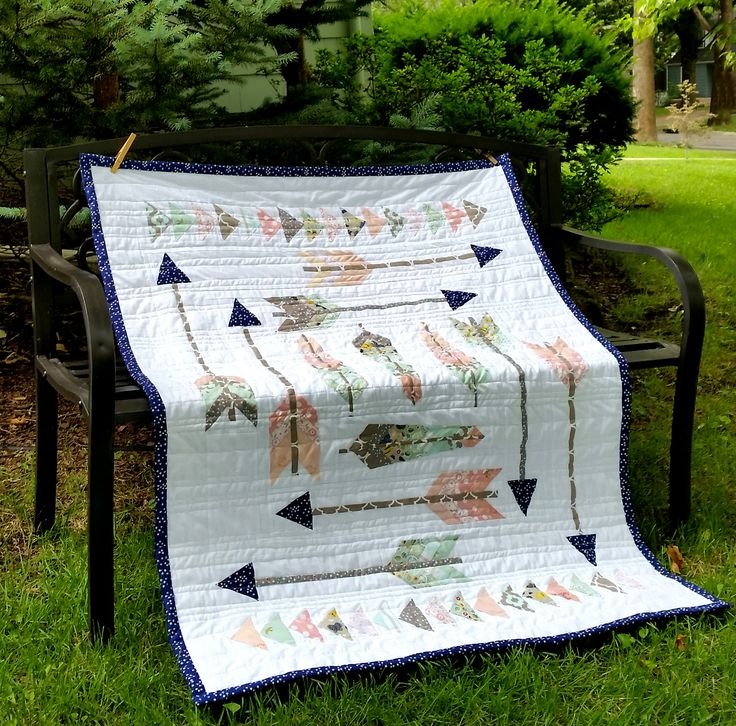 Baby Quilt, feathers arrows and flying geese original design .  Soft colors in peaches and greens. Amazing.