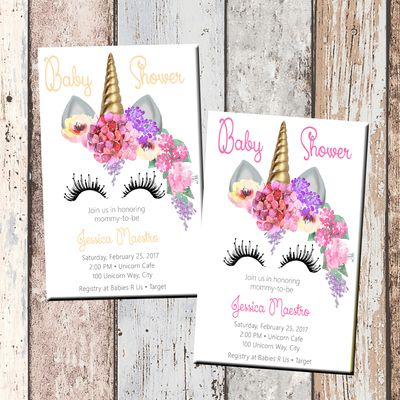 Unicorn baby shower invitation-1 sided
