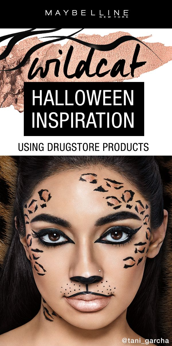 Everyone has done the cat costume at least once for Halloween, right? Step up your Halloween makeup game with this wildcat inspired makeup look using ALL drugstore products!  Click through to get more Halloween makeup inspiration.