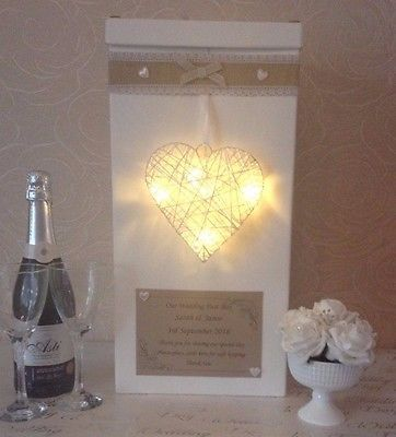 Wedding card post box personalised heart with LED lights hessian pearls shabby
